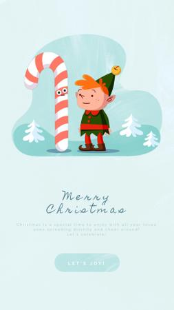 Christmas Greeting Elf Eating Candy Cane Instagram Video Story Modelo de Design