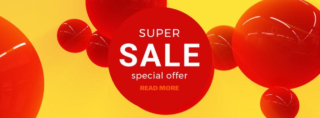 Sale announcement on flying red bubbles — ein Design erstellen