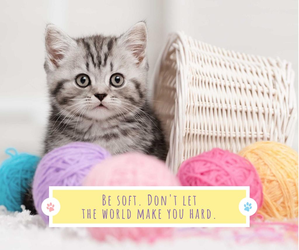 Cute Kitten in yarn balls — Maak een ontwerp