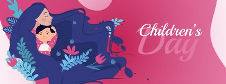 Ontwerpsjabloon van Facebook Video cover van Children's Day Child with Loving Mom