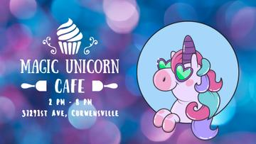 Cafe Promotion Funny Cute Unicorn in Blue