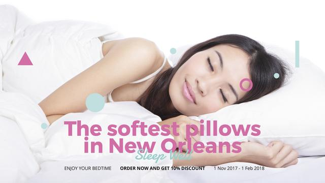 Template di design Pillows ad Girl sleeping in bed FB event cover