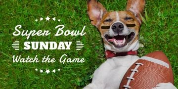 Super bowl advertisement poster with adorable dog and ball