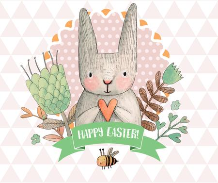 Happy Easter greeting with bunny and bee Facebook Tasarım Şablonu