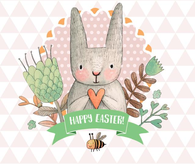 Modèle de visuel Happy Easter greeting with bunny and bee - Facebook