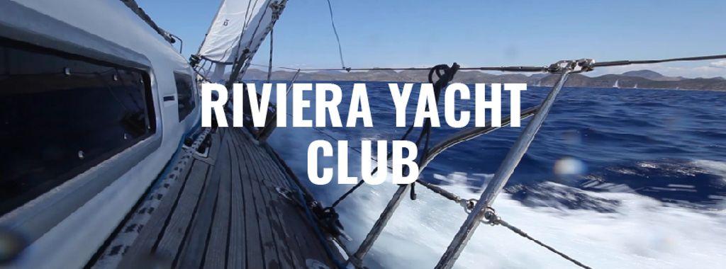 Yacht sailing fast on blue sea — Maak een ontwerp