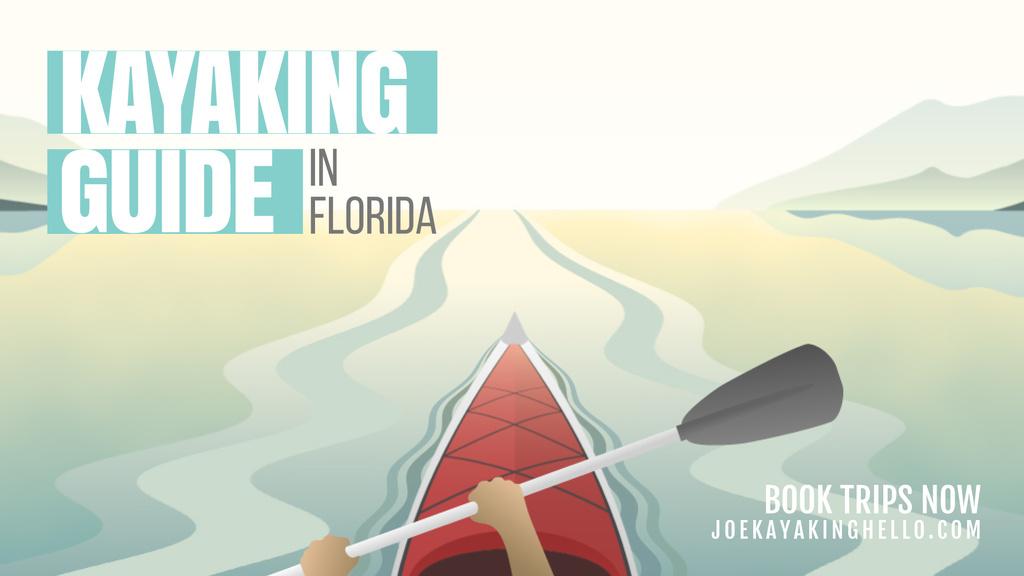 Man kayaking on calm river — Modelo de projeto