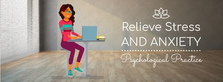 Psychological Practice Guide Stressed Woman with Laptop Facebook Video cover Tasarım Şablonu