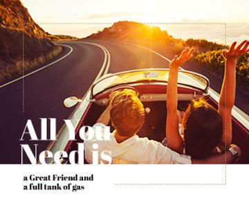 Young couple in convertible car, travel background