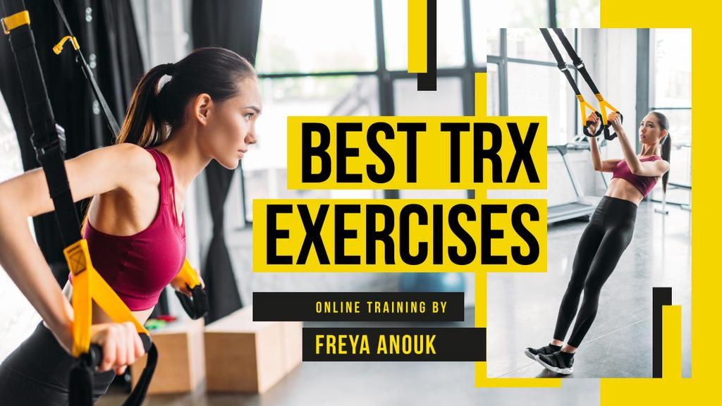 Online Training Woman Resistance Training in Gym | Youtube Thumbnail Template — Crea un design