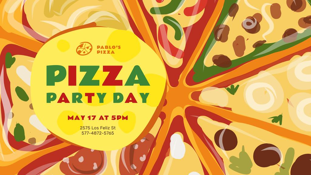 Pizza Party Day Invitation Hot Slices — Maak een ontwerp