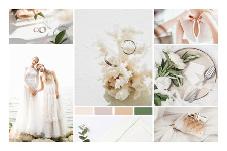 Template di design Young Women in Bridal dresses Mood Board