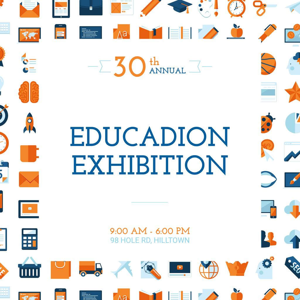 Education Exhibition Announcement Bright Sciences Icons — Créer un visuel
