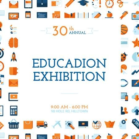 Education Exhibition Announcement Bright Sciences Icons Instagram Modelo de Design