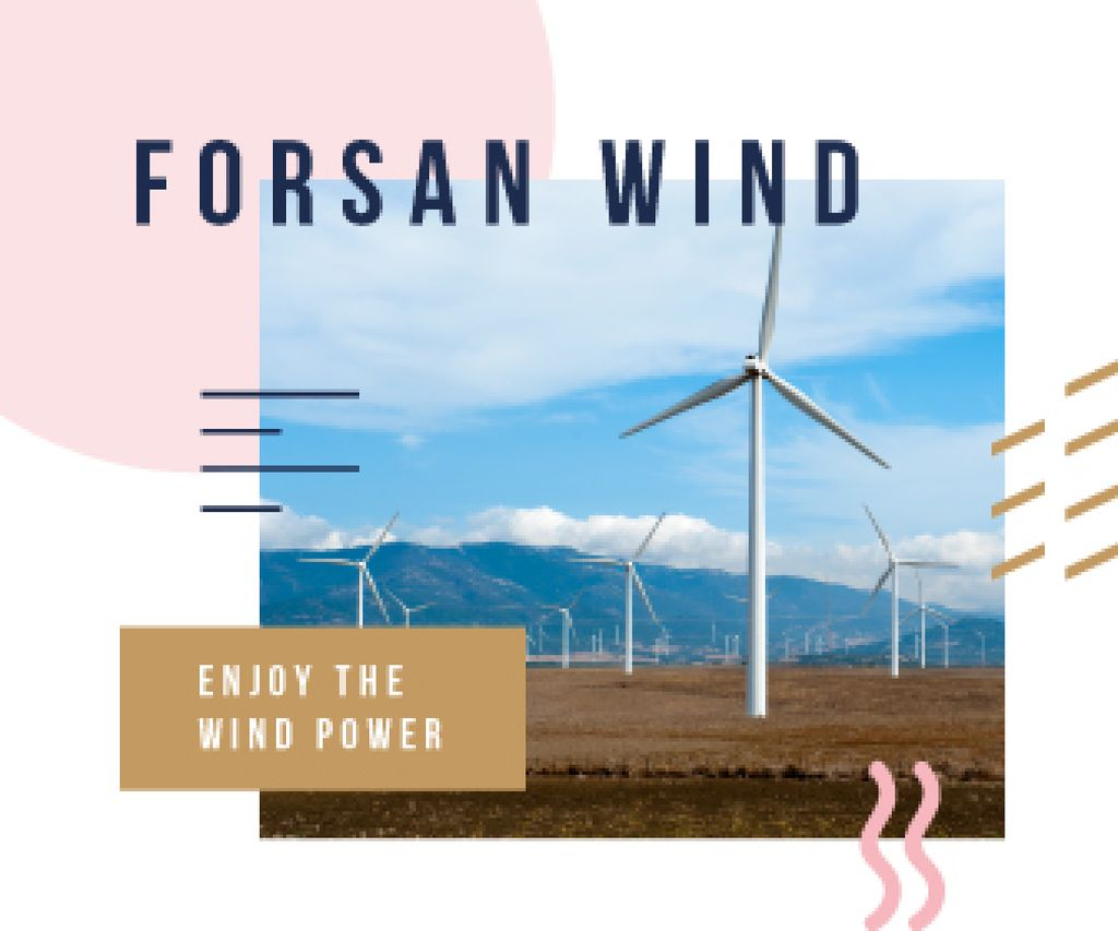 Renewable Energy Wind Turbines Farm | Large Rectangle Template — Crear un diseño