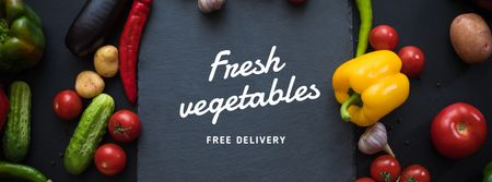 Modèle de visuel Food Delivery Service in vegetables frame - Facebook cover