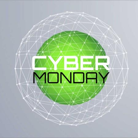 Template di design Cyber Monday with Digital sphere with network Animated Post