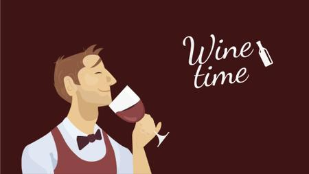 Template di design Sommelier Smelling Wine in Red Full HD video