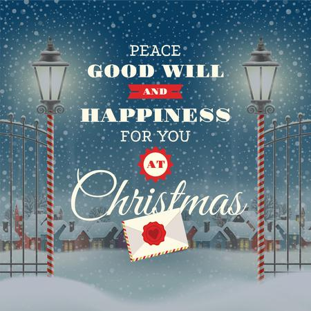 Merry Christmas Greeting with Snowy Village Instagram Design Template