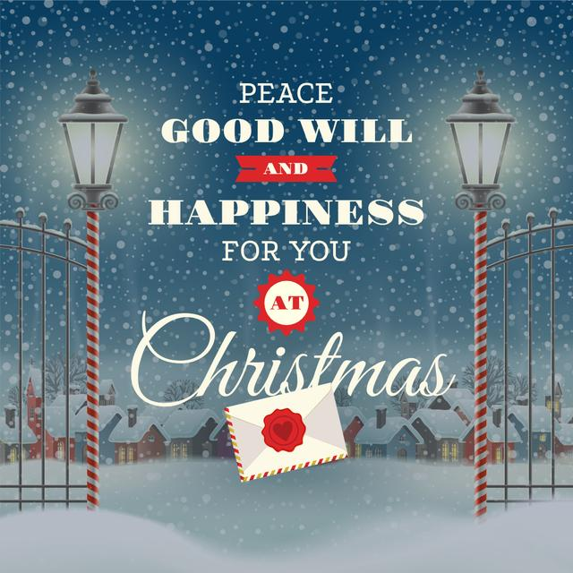 Modèle de visuel Merry Christmas Greeting with Snowy Village - Instagram