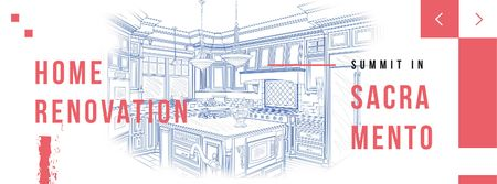 Home kitchen Interior illustration Facebook cover – шаблон для дизайна