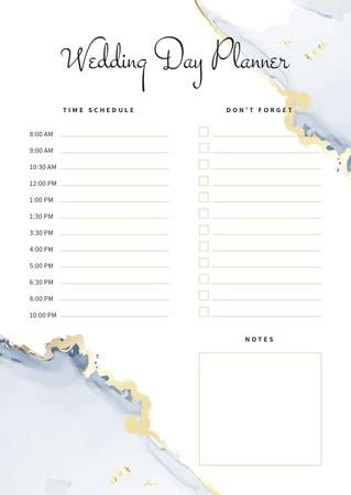 Modèle de visuel Wedding Day Planner with Watercolour Texture - Schedule Planner