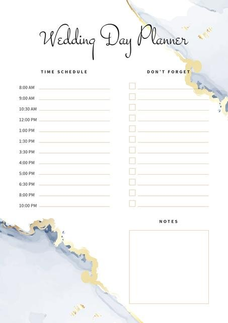 Wedding Day Planner with Watercolour Texture Schedule Planner Design Template