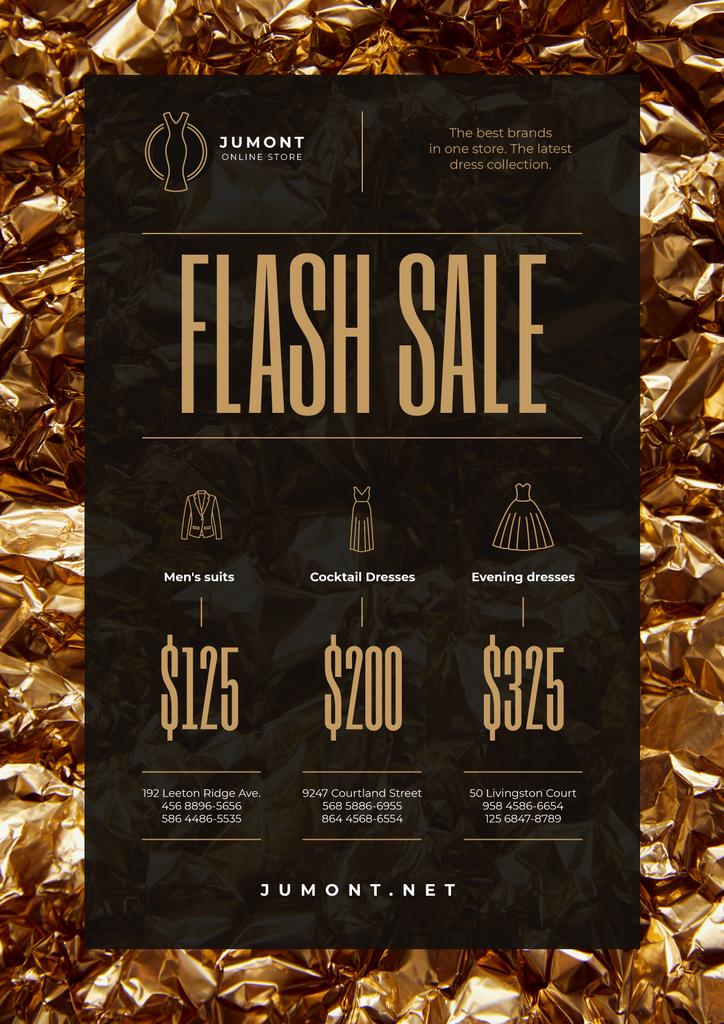 Clothes Store Sale with Golden Shiny Background — Crea un design