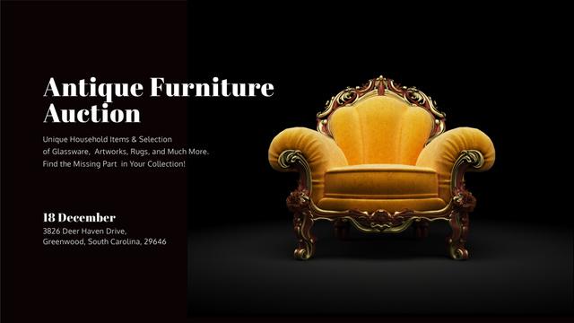 Ontwerpsjabloon van FB event cover van Antique Furniture Auction Luxury Yellow Armchair