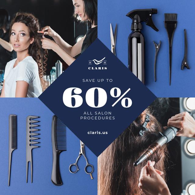 Plantilla de diseño de Hairdressing Tools Sale Announcement in Blue Instagram