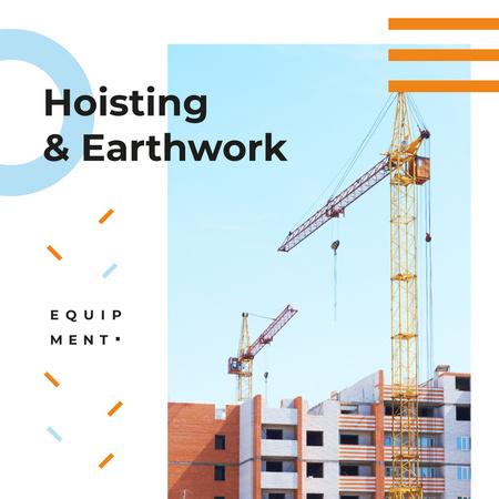 Building Equipment Cranes at Construction Site Instagram ADデザインテンプレート