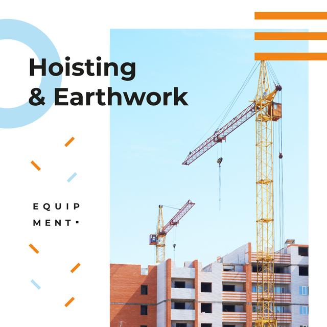 Building Equipment Cranes at Construction Site Instagram AD – шаблон для дизайна