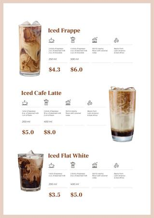 Plantilla de diseño de Iced Coffee drinks offer Menu