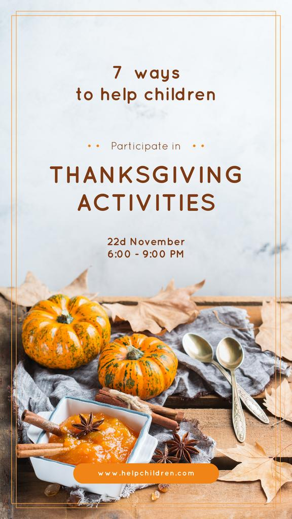 Thanksgiving Activities Ideas Pumpkins for Decoration | Stories Template — Create a Design