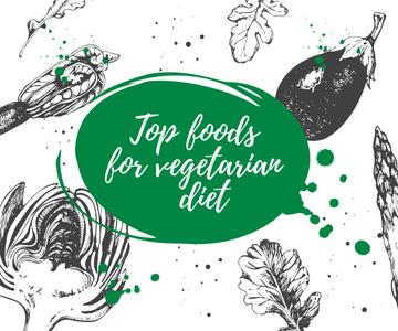 Vegetarian Food Vegetables Sketches | Medium Rectangle Template