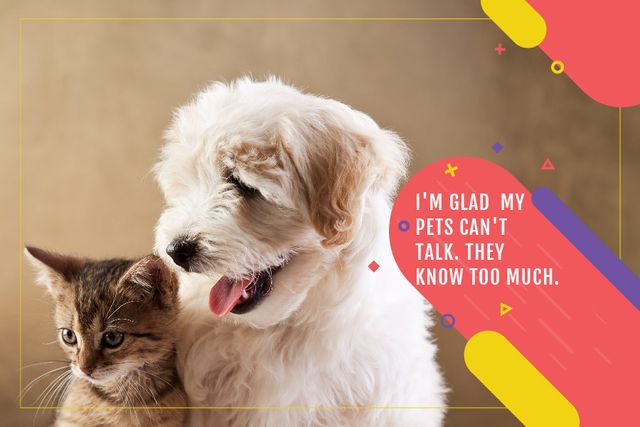 Citation about not talking pets Gift Certificate Design Template