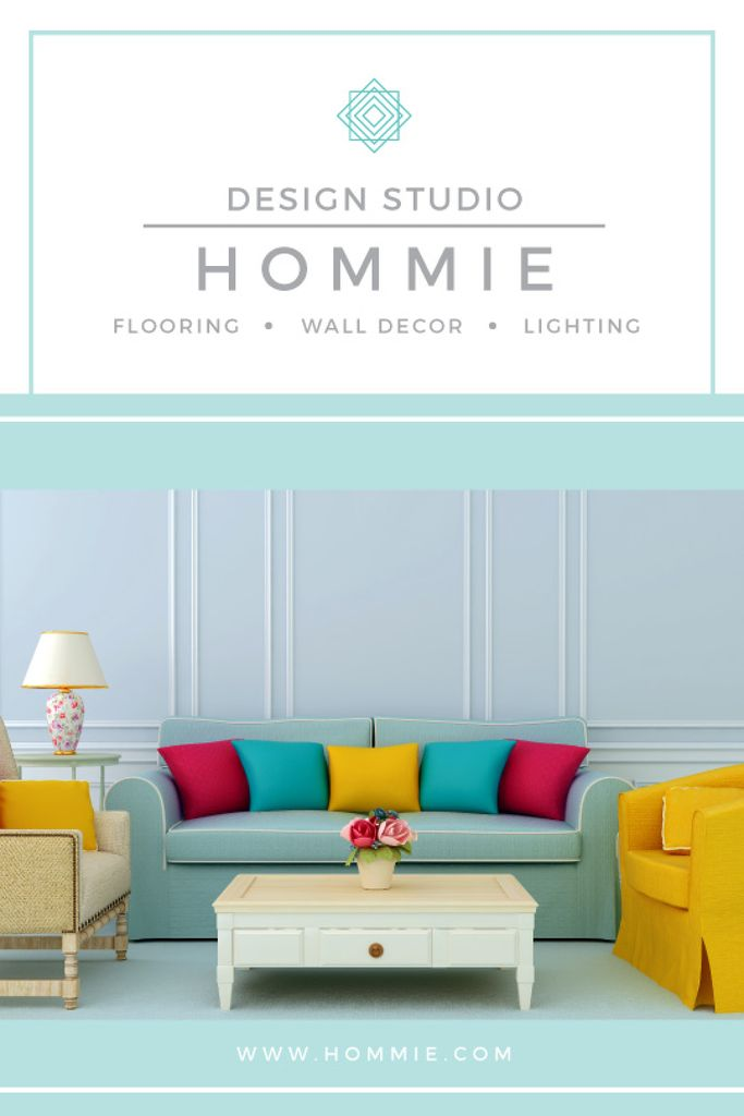 Home Design Ad Cozy Interior in Blue — Maak een ontwerp