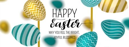 Plantilla de diseño de Easter Greeting with rotating colorful Eggs Facebook Video cover