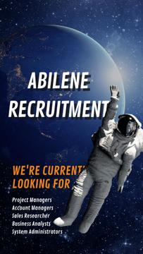 Hiring Offer Astronaut Waving in Outer Space | Vertical Video Template