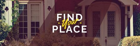 Find your place text with cozy house on background Twitter Design Template