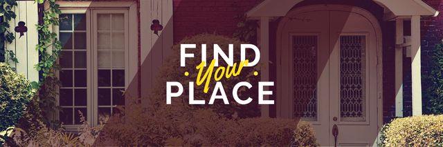 Plantilla de diseño de Find your place text with cozy house on background Twitter
