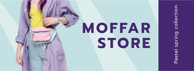 Template di design Spring Collection Ad Woman in Purple Trench Coat Facebook cover