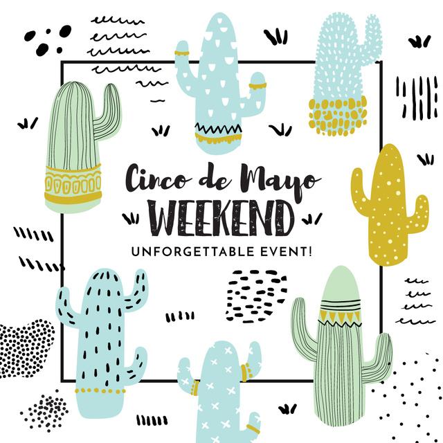 Modèle de visuel Cinco de Mayo Cactus weekend event - Instagram AD