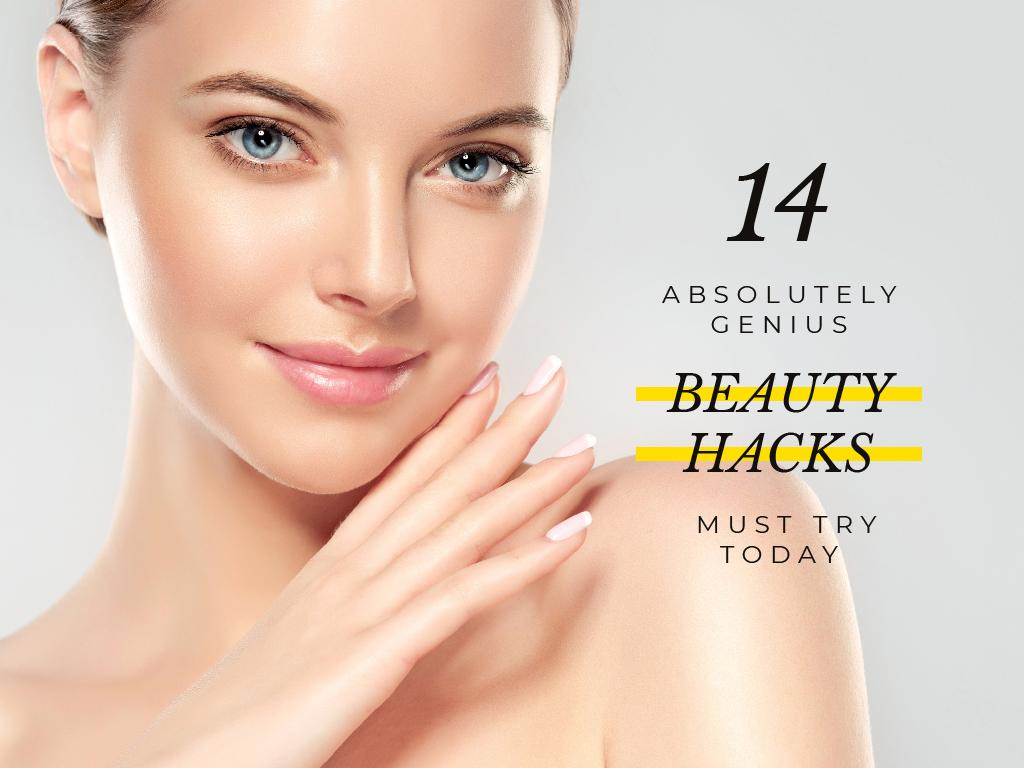 genious beauty hacks banner with beautiful young woman — Créer un visuel