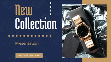 Luxury Accessories Ad with Golden Watch FB event cover Tasarım Şablonu