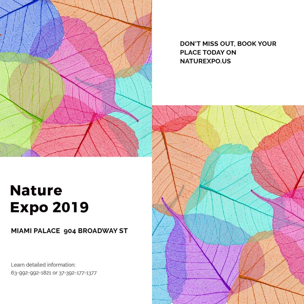 Nature Expo announcement with colorful leaves — Crear un diseño