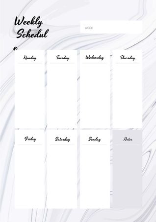 Modèle de visuel Weekly Schedule Planner on White Waves Texture - Schedule Planner