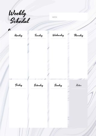 Ontwerpsjabloon van Schedule Planner van Weekly Schedule Planner on White Waves Texture