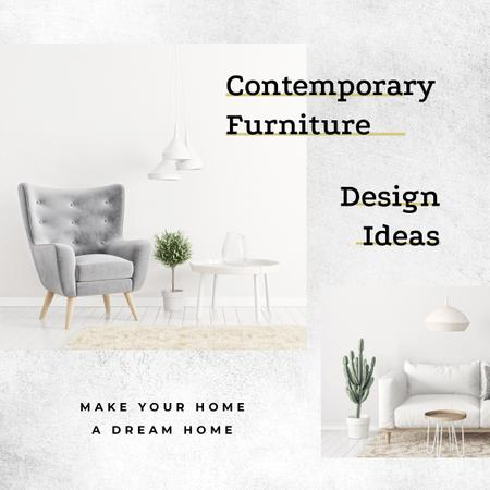 Design Studio Cozy Interior in White Colors Instagram AD – шаблон для дизайна