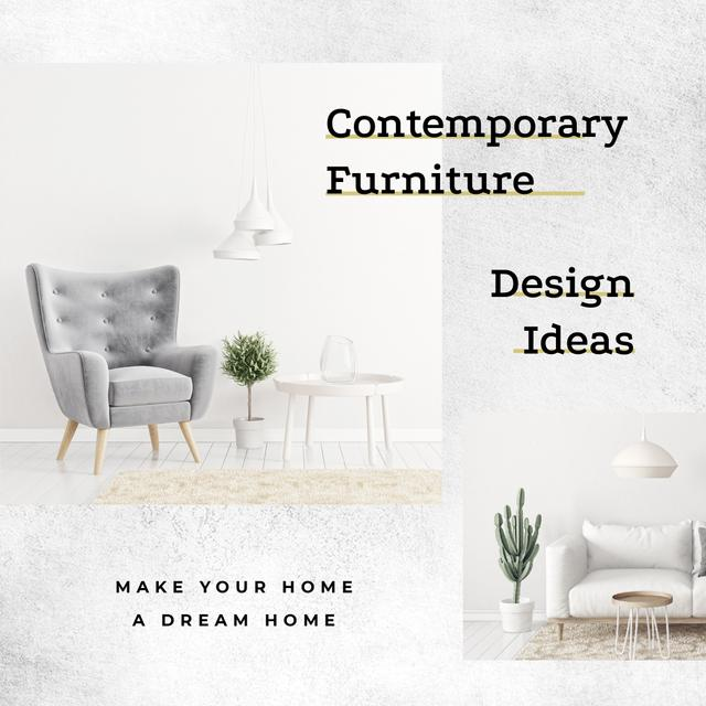 Modèle de visuel Design Studio Cozy Interior in White Colors - Instagram AD
